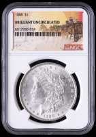 1888 Morgan Silver Dollar - Stage Coach Label (NGC Brilliant Uncirculated) at PristineAuction.com