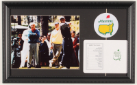 """Tiger Woods, Arnold Palmer & Jack Nicklaus """"The Masters"""" 12x19 Custom Framed Photo Display with Official Augusta Scorecard at PristineAuction.com"""