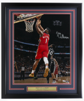 Zion Williamson Signed Pelicans 22x27 Custom Framed Photo (Fanatics Hologram) at PristineAuction.com