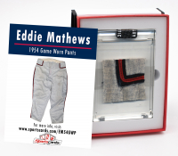 EDDIE MATHEWS 1954 MILWAUKEE BRAVES GAME WORN PANTS MYSTERY SWATCH BOX! at PristineAuction.com