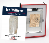 TED WILLIAMS 1969 WASHINGTON SENATORS GAME WORN PANTS MYSTERY SWATCH BOX! at PristineAuction.com