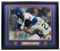 """Nolan Ryan Signed Rangers 22x27 Custom Framed Photo Display with (2) Rangers Medallions Inscribed """"Don't Mess With Texas!"""" (Beckett, AIV COA & Ryan Hologram) at PristineAuction.com"""