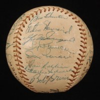 1956 Yankees Official Baseball Team-Signed by (27) with Mickey Mantle, Yogi Berra, Whitey Ford, Phil Rizzuto, Billy Martin, Elston Howard (JSA LOA) at PristineAuction.com