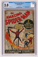 "1963 ""The Amazing Spider-Man"" Issue #1 Marvel Comic Book (CGC 2) at PristineAuction.com"