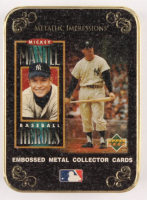 Mickey Mantle 1995 Upper Deck Metalic Impressions Baseball Heros Metal Tin with (5) Embossed Metal Baseball Cards at PristineAuction.com