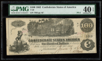 1862 $100 One-Hundred Dollar Confederate States of America Richmond CSA Bank Note (PMG 40) (EPQ) at PristineAuction.com