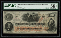 1862 $100 One-Hundred Dollar Confederate States of America Richmond CSA Bank Note (PMG 58) (EPQ) at PristineAuction.com