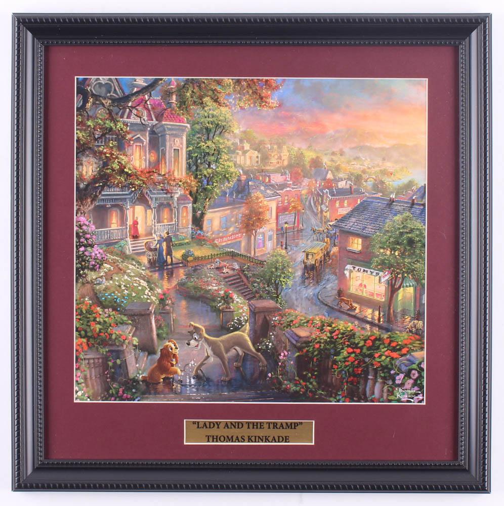 "Thomas Kinkade Walt Disney's ""Lady and the Tramp"" 16x16 Custom Framed Print Display at PristineAuction.com"