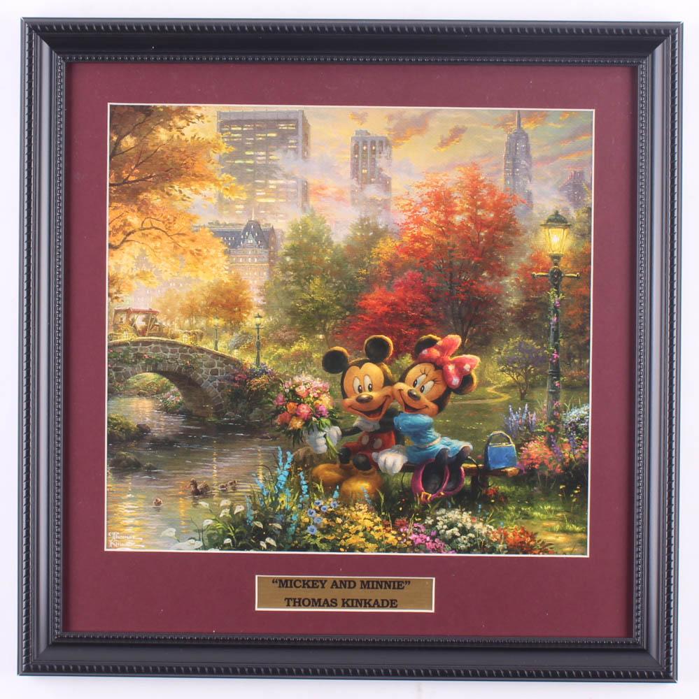 "Thomas Kinkade Walt Disney's ""Mickey & Minnie"" 16x16 Custom Framed Print Display at PristineAuction.com"