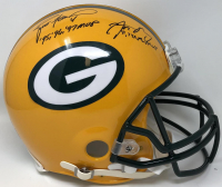 Brett Favre & Aaron Rodgers Signed Packers Full-Size Authentic On-Field Helmet with MVP Inscriptions (Fanatics Hologram) at PristineAuction.com