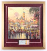 "Thomas Kinkade ""Disneyland"" 20x22 Custom Framed Canvas on Wood Display with Vintage Ticket Booklet (Thomas Kinkade Studios COA) at PristineAuction.com"