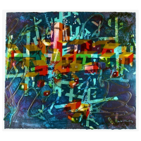 "Yankel Ginzburg Signed ""City In Blue"" Limited Edition 23x26 Serigraph at PristineAuction.com"
