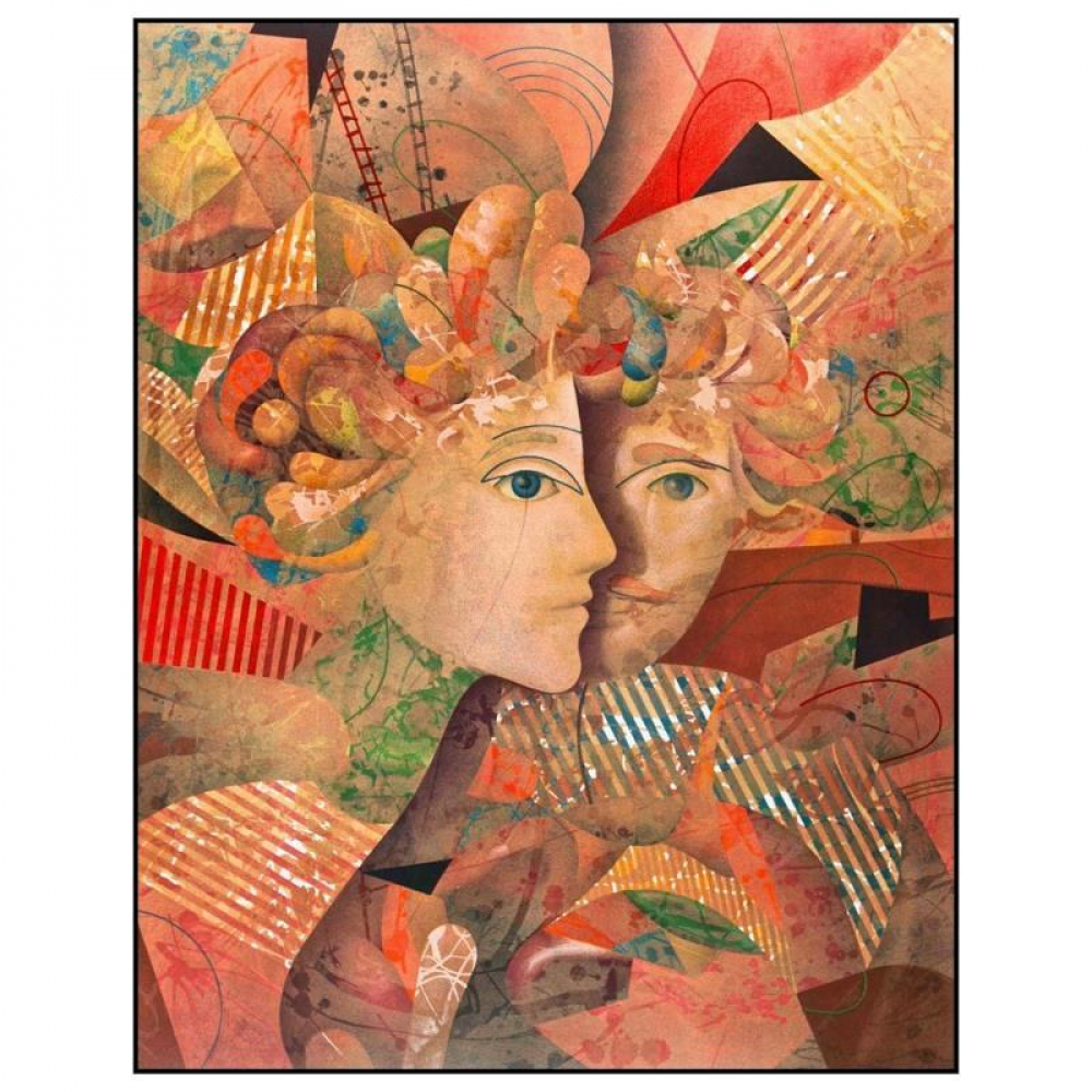 """Yankel Ginzburg Signed """"Lovers"""" Limited Edition 24x32 Serigraph at PristineAuction.com"""