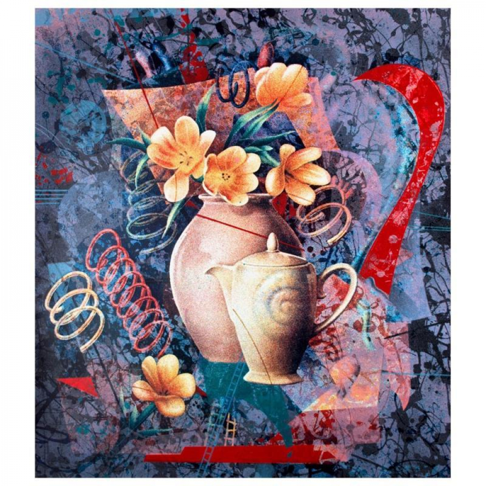 """Yankel Ginzburg Signed """"Tea In The Afternoon"""" Limited Edition 32x37 Serigraph at PristineAuction.com"""