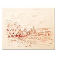 "Wayne Ensrud Signed ""View of Volnay, Burgundy"" 13x16 Pencil Original Artwork at PristineAuction.com"