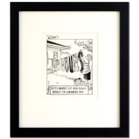 "Dan Piraro Signed Bizarro! ""Up Yours"" 13x14 Custom Framed Original Pen & Ink Drawing at PristineAuction.com"