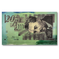 """Steve Kaufman Signed """"Israel 20 Shekel Note Bill"""" Limited Edition 18x30 Hand Pulled Silkscreen Mixed Media at PristineAuction.com"""