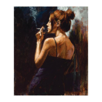 """Fabian Perez Signed """"Full Moon Empty Heart"""" Hand Textured Limited Edition 24x20 Giclee on Canvas #16/35 at PristineAuction.com"""