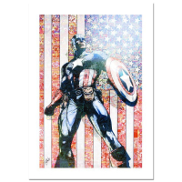 "Stan Lee Signed ""Captain America Theater Of War: Ghosts of My Country #1"" Marvel Comics Limited Edition 15x22 Canvas by Elia Bonetti at PristineAuction.com"