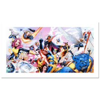 """Stan Lee Signed """"Uncanny X-Men #500"""" Marvel Comics Limited Edition 27x14 Canvas by Greg Land at PristineAuction.com"""