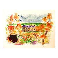 "Wayne Ensrud Signed ""View of Chateau Haut-Brion"" 22x30 Mixed Media Original Artwork at PristineAuction.com"