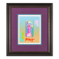 "Peter Max Signed ""Statue of Liberty"" 19x22 Custom Framed One-Of-A-Kind Acrylic Mixed Media at PristineAuction.com"