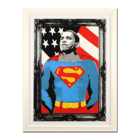 "Mr. Brainwash Signed ""Obama Superman (Silver)"" Limited Edition 49x38 Custom Framed Silk Screen #333/500 at PristineAuction.com"