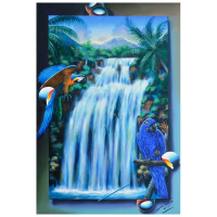 """Ferjo Signed """"Brazilian Waterfall"""" 36x24 Original Painting on Canvas at PristineAuction.com"""