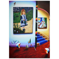 "Ferjo Signed ""Renoir in Paradise 1"" 70x50 Original Painting on Canvas at PristineAuction.com"