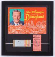 1963 Disneyland Souiviner Guide & Vintage Ticket Book 15.5x16.5 Custom Framed Display with Vintage .50 Parking Pass at PristineAuction.com