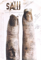 """Saw II"" 27x40 Movie Poster Signed by (7) with Tobin Bell, Shawnee Smith, Timothy Burd, Noam Jenkins with Inscriptions (Beckett LOA) at PristineAuction.com"