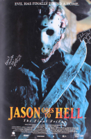 """Jason Goes to Hell: The Final Friday"" 27x40 Movie Poster Signed by (5) with John D. LeMay, Erin Gray, Kane Hodder, Rusty Schwimmer & Leslie Jordan with Inscriptions (Beckett LOA) at PristineAuction.com"