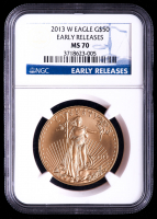 2013-W American Gold Eagle $50 Coin - Burnished, Early Releases (NGC MS70) at PristineAuction.com