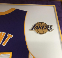 Kobe Bryant Signed Lakers 38x44 Custom Framed Jersey Display (Panini COA) at PristineAuction.com