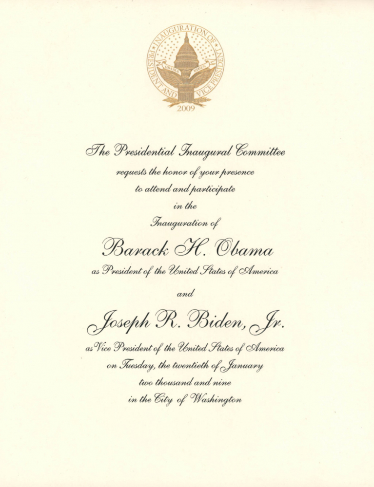 Barack Obama & Joe Biden 2009 Inauguration Invitation 9x11 Letter at PristineAuction.com