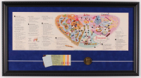Disneyland 14x26 Custom Framed Vintage 1963 Map Display with Ticket Book & Brass Coin at PristineAuction.com