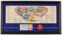 """Disneyland 14x26 Custom Framed Vintage 1959 Map Display with 1960's Ticket Book & Vintage 1960's Vari Vue """"I Like Disneyland"""" Blinker Pin at PristineAuction.com"""