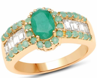 Emerald & Topaz White Baguette Ring at PristineAuction.com