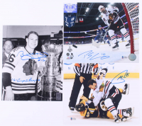 Lot of (3) Signed 8x10 Photos with Bobby Hull, Patrick Sharp & Andrew Shaw with Inscription (Beckett COA & Hull Hologram) at PristineAuction.com