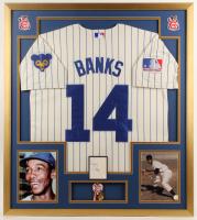 Ernie Banks Signed 32x36 Custom Framed Cut Display with Vintage Cubs Pin (JSA Hologram) at PristineAuction.com