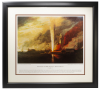 Destruction of HMS Augusta in Delaware River 16x20 Custom Framed Lithograph at PristineAuction.com