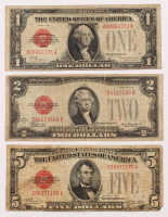 Lot of (3) 1928 Red Seal U.S. Legal Tender Notes with $1, $2, & $5 at PristineAuction.com