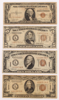 "1934-1935 Hawaii Brown Seal WWII ""Emergency Note"" Set of (4) with $20, $10, $5, & $1 at PristineAuction.com"
