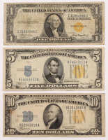 1934-1935 North Africa Gold Seal Silver Certificate Bank Note Set of (3) with $10, $5, & $1 at PristineAuction.com