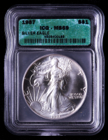 1987 American Silver Eagle $1 One Dollar Coin (ICG MS69) at PristineAuction.com