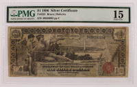 "1896 $1 One-Dollar ""Educational Series"" Large-Size Silver Certificate (PMG 15) at PristineAuction.com"