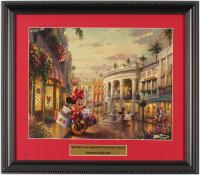 "Thomas Kinkade Walt Disney's ""Mickey and Minnie In Beverly Hills"" 13.5x15.5 Custom Framed Print Display at PristineAuction.com"