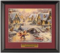 "Thomas Kinkade Walt Disney's ""Mickey and Minnie Ice Skating"" 13.5x15.5 Custom Framed Print Display at PristineAuction.com"