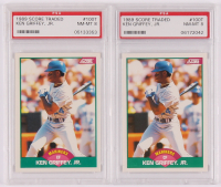 Lot of (2) PSA Graded 8 Ken Griffey Jr. 1989 Score Rookie / Traded #100T RC at PristineAuction.com