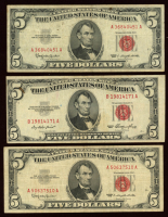 Lot of (3) 1963 $5 Five Dollar Red Seal U.S. Bank Note Bills at PristineAuction.com